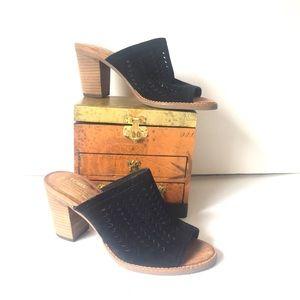 Tom's Black Majorca Suede Cutout Mule Sandal 7.5